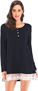 UOKNICE Womens Blouses, Long Sleeves Casual Winter Warm Button Ladies Round Neck Lace Patchwork T-Shirts Pullover Tops