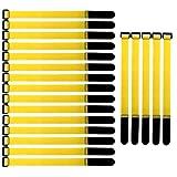 Gebildet 20 Piezas Reutilizables Ataduras de Cable, 2 × 30 cm Gancho y Lazo de Cable, Ajustable Correas para Cable, Tiras Bridas para Organizar Cables (Amarillo)