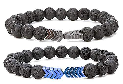 Rinspyre 8mm Sacred Arrow Lava Rock Bead Bracelet Essential Oil Diffuser Bracelet for Women Men Style 2