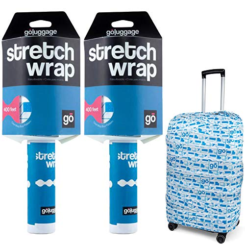 Stretch Wrap 5' x 400' Roll, Thick Durable Self-Adhering Plastic Wrap for Wrapping Luggage, Moving, Packing Wrap Industrial Strength, White and Blue Plastic Pallet Shrink (2 Rolls)