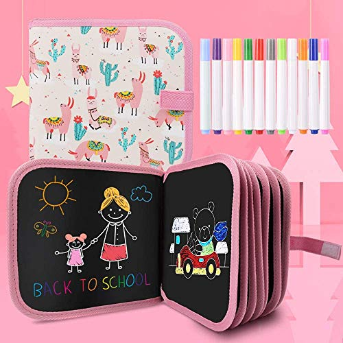 Felly Juegos de Pintura para Niños, Tabla de Dibujo Portátil Graffiti Libros Blandos de Pizarra Juguetes para Educación Preescolar Bebés Niña 2-10 Años, Doodle Juego Infantil, 14 Páginas (Rosa)