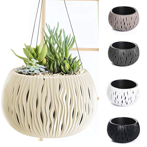 Blumentopf Pflanzentopf Balkontopf Hängetopf Aufhängen Welle-Design mit Einsatz wählbar (290 Creme)