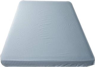 ベッドシーツ (ブルー, シングル) 日本製 綿100% サテンストライプ サテン 防ダニ 高級ホテル仕様 高密度生地 シーツ 北欧 ボックスシーツ おしゃれ etoile(エトワール)