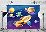BELECO 7x5ft Cartoon Outer Space Backdrop Solar System of Planets Photography Backdrop for Birthday Party Decoration Kids Photoshoot Photo Background Photo Booth Props