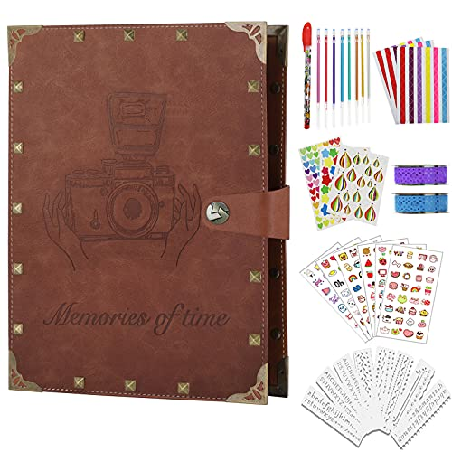 ZEEYUAN Scrapbook Album Leather Memory Book Photo Album 8.5x11 inch,Vintage Scrapbooking Supplies Kits for Couples Anniversary Travelling Scrapbook Family Scrap Book 80 Pages