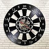 Usmnxo Tablero de Dardos Reloj de Pared Bar de la habitación decoración de la Pared Flecha Objetivo Reloj de Pared con Disco de Vinilo con luz LED 12 Pulgadas (30 cm)