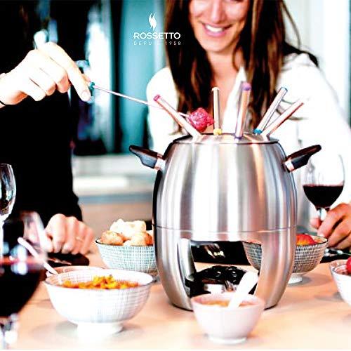 Rossetto-Fondue de Queso,chocolate o aceite,Set 6 tenedores,Acero inoxidable,Con 2 asas,quemador,para 6 personas,Apta para lavavajillas