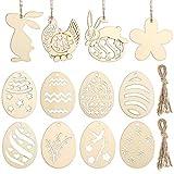 Toyvian 48 Pezzi Pasquali di Legno Non Finiti, Uova di Pasqua in Legno Non Finite/Coniglio/Ornamenti di Pollo per Bambini Fai da Te Artigianato Forniture per Feste di Pasqua Decorazione