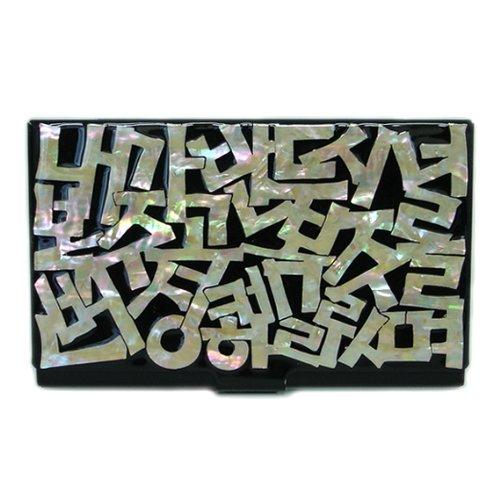 Kreditkartenetui aus Perlmutt-Metall, Edelstahl, mit Gravur, schmal, mit koreanischem Buchstaben-Design