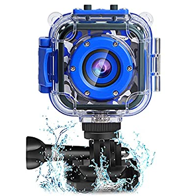 PROGRACE Children Kids Camera Waterproof Digital Video HD Action Camera 1080P Sports Camera Camcorder DV for Boys Birthday Learn Camera Toy 1.77'' LCD Screen (Navy Blue) from PROGRACE