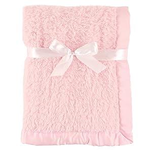 Hudson Baby Unisex Baby Sherpa Plush Blanket with Satin Binding, Pink, One Size