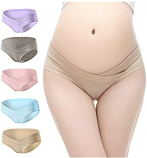 William & Winnie 5 PCS Women's Under The Bump Cotton Maternity Underwear Healthy Hipsters Panties Multicolor