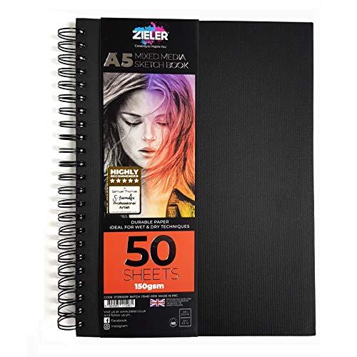 Carnet de croquis de supports mixtes à spirale - 150 g/m², 50 feuilles - de Zieler. À utiliser avec les crayons, le fusain, le graphite, les pastels et l'aquarelle légère. Feuilles perforées (A5)
