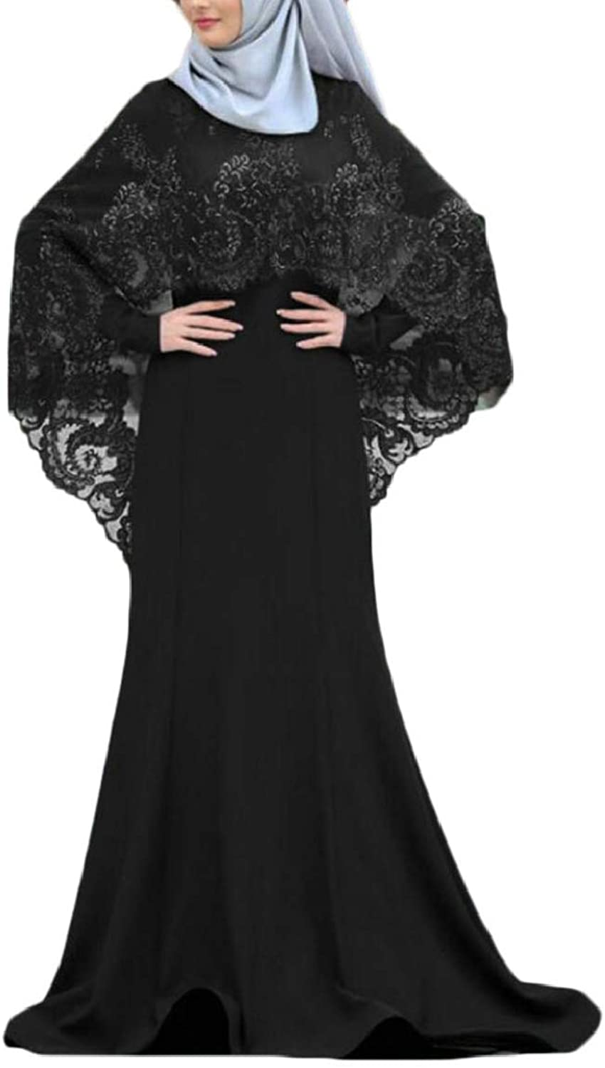 FashionRun Women Fashion Muslim Kaftan Abaya Jilbab Long Sleeve Lace Long Maxi Dress