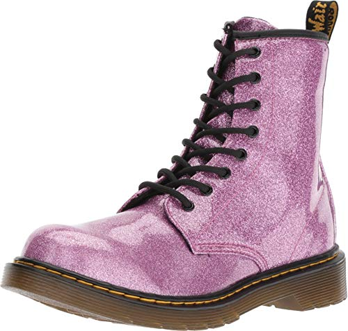 Dr. Martens Kid's Collection Girl's 1460 Patent Glitter Youth Delaney Boot (Big Kid) Dark Pink Coated Glitter 4 UK (US 5 Big Kid) M