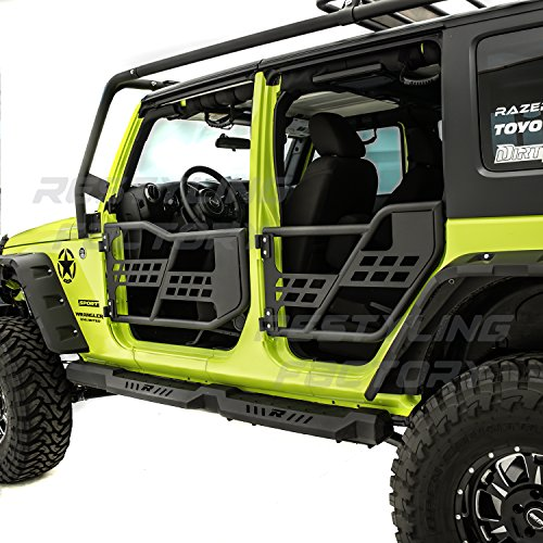 Restyling Factory -Rock Crawler Off Road Replacement Front+Rear Tubular 4 Door Set Without Mirror (Black) for 07-18 JK Wrangler