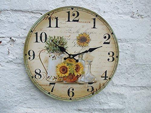Deko-Impression Wunderschöne, Wanduhr mit Sonnenblumen, 28 cm, Landhaus