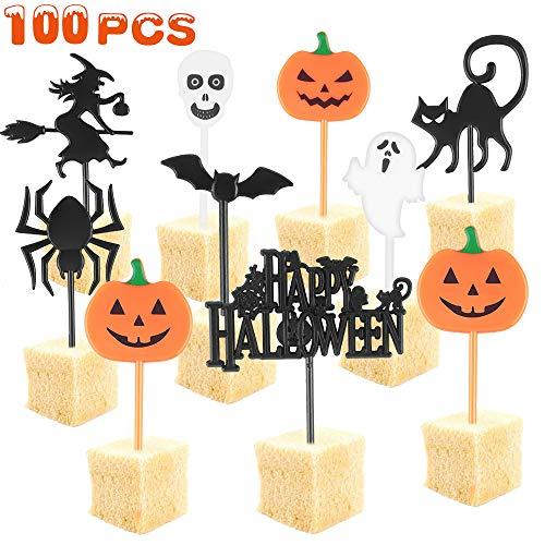 TTCOTOKE Halloween Cupcake Topper, 100 PCS Cake Topper, Muffin Deco di Plastica a Forma di Zucca, Fantasma, Pipistrello, Cranio e Ragno Halloween Topper Decorativo