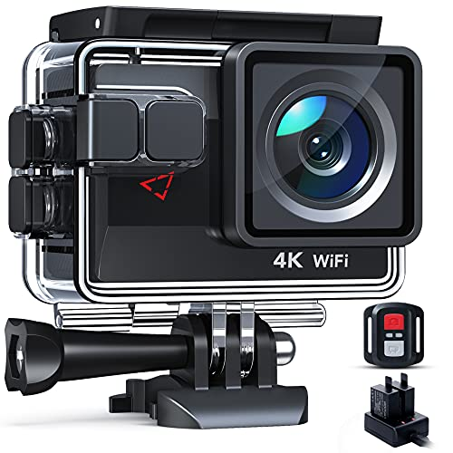 Action Camera 4K 30FPS Touch Screen with 4X Zoom, Dual Batteries with Charger, 20MP 20MP WiFi Sports Camcorder, Remote Control, Upgraded EIS, 40M Underwater Camera and Accessories Kit Included
