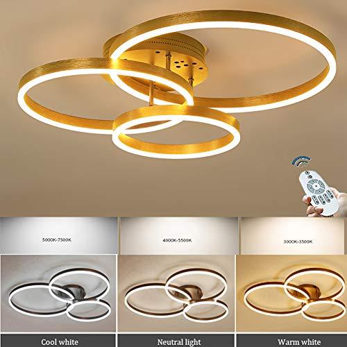 XIAOYY Lampara De Colgante LED, 3 Regulable De Luz/Brillo Redonda, Lampara De Mesa De Comedor Cocina Comedor Salon, con Mando A Distancia, Lampara De Techo-Dorado,Oro