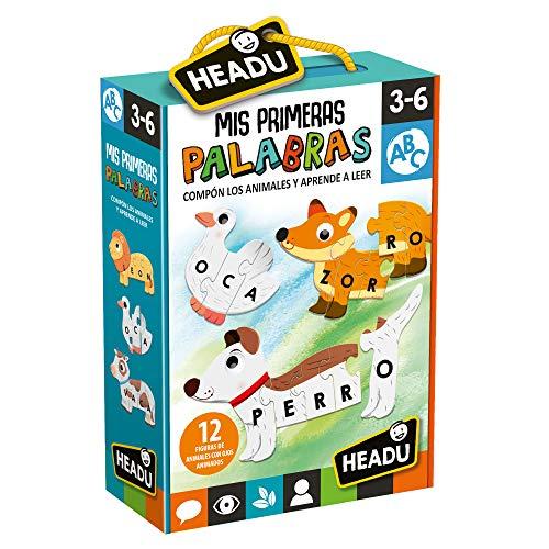 Headu-Mis Primeras Palabras. Forma aprede Juego Educativo Infantil para Aprender a Leer y reconocer a los Animales niñas de 3-6 años, Color Verde (ES23530)
