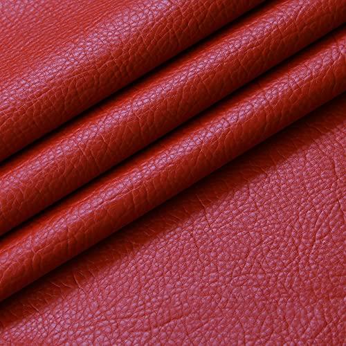 ZSYGFS Tela De Cuero Sintético De Polipiel 138 Cm De Ancho Vendido por Metro para Muebles Sofás Sillas Manualidades(Color:Gran Rojo)