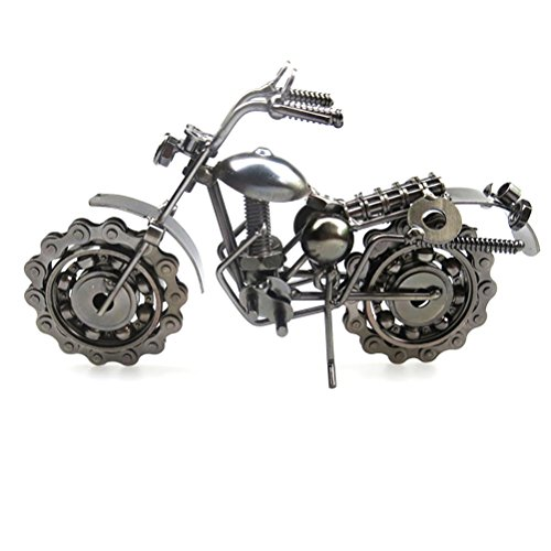 VORCOOL Vintage Iron Motorcycle Model Retro Handicraft Collectible Iron Art Sculpture for Motorcycle Lover Home Desk Workplace Office Decoration (Grey)