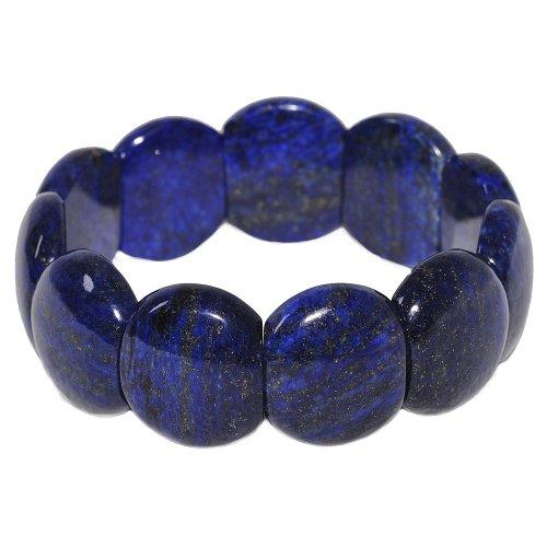 Armband Armschmuck aus Edelstein Lapis-Lazuli Lapislazuli blau glatt dehnbar stabil unisex