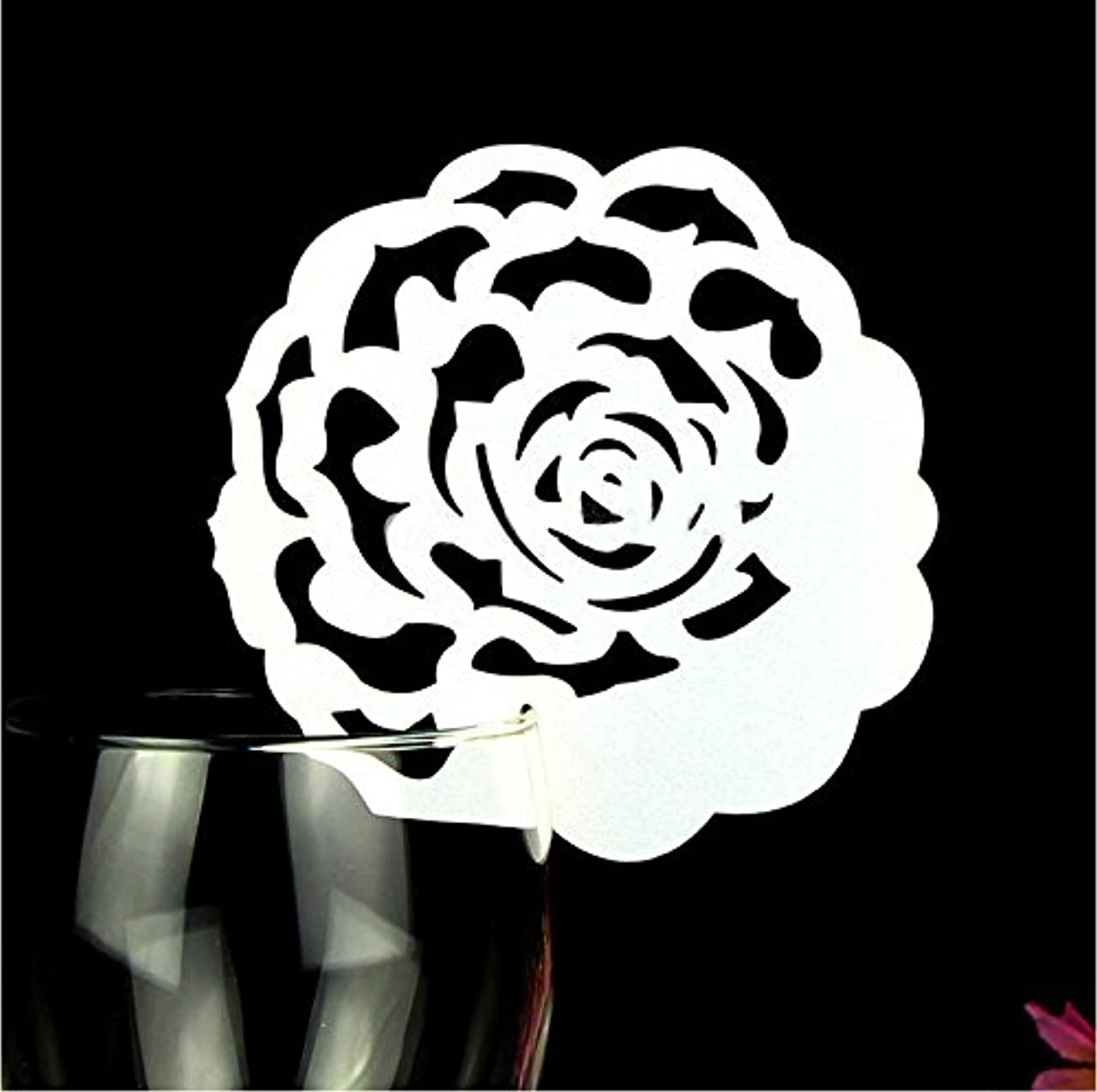 Krismile 50pcs Laser Cut Romantic Rose Wedding Table Decoration Place Card Wine Glass Place Card Table Seating Numbers Party Decoration