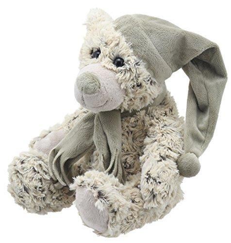 Lashuma Stofftier Bär Beige, Kuscheltier Bärchen 25 cm Sitzend, Plüschtier Teddy mit Schal und Mütze als Kuschelfreund