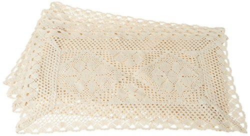 Violet Linen Stars Crochet Vintage Design Placemat, Set of 4, 12' x 18', Ivory,...