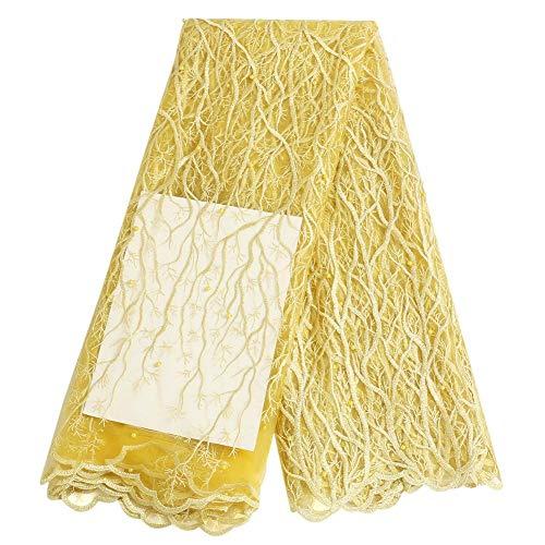Prosperveil afrikanischer Spitzenstoff, nigerianische französische Spitze, für Brautkleider, Schneiderei, bestickt, Tüll, Voile-Stoff gelb