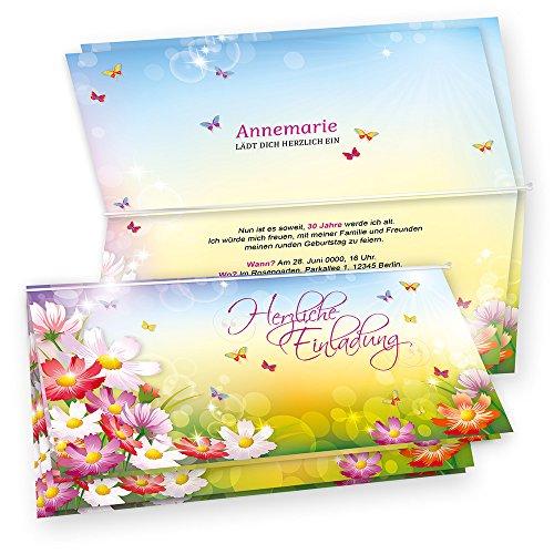 TATMOTIVE 05-0102-0265-02010 Tatmotive FLORENTINA Einladungskarten Geburtstag (10 Sets) selbst bedruckbar, mit Umschlag, Blumen bunt