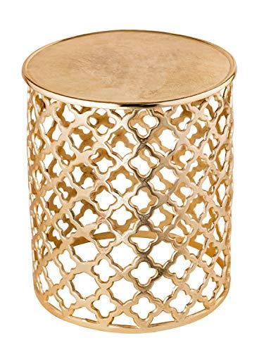Dekotisch Metall Beistelltisch ø 40 x 45 cm rund Kairo Silber o. Gold Aluminium Orientalisch Farbe Gold