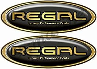Two Regal Boat Oval Black Classic Decal Set - Name Plate