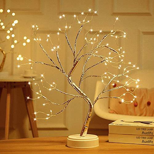 LED Baum Lichter Warmweiß USB Bonsai Baum Licht Verstellbare Äste Batteriebetrieben Dekobaum Belichtet Kleine Baumbeleuchtung Innen Deko für Thanksgiving Weihnachten (108 Lampenperlen)