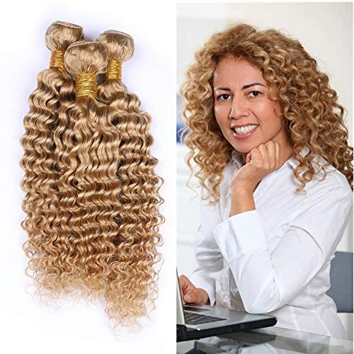 Cloud Hair Deep Wave Curly Honey Blonde Human Hair Weave 3 Bundles Indian Virgin Hair blonde 27# Curly Human Hair Extensions Strawberry Blonde 27 Hair Double Weft 100g/Bundle (14 16 18 inch 3bundles)