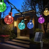 Solar Lichterkette Außen LED, Qxmcov 7 Meter Solar Kristallkugeln Lichterkette mit 50er LED...