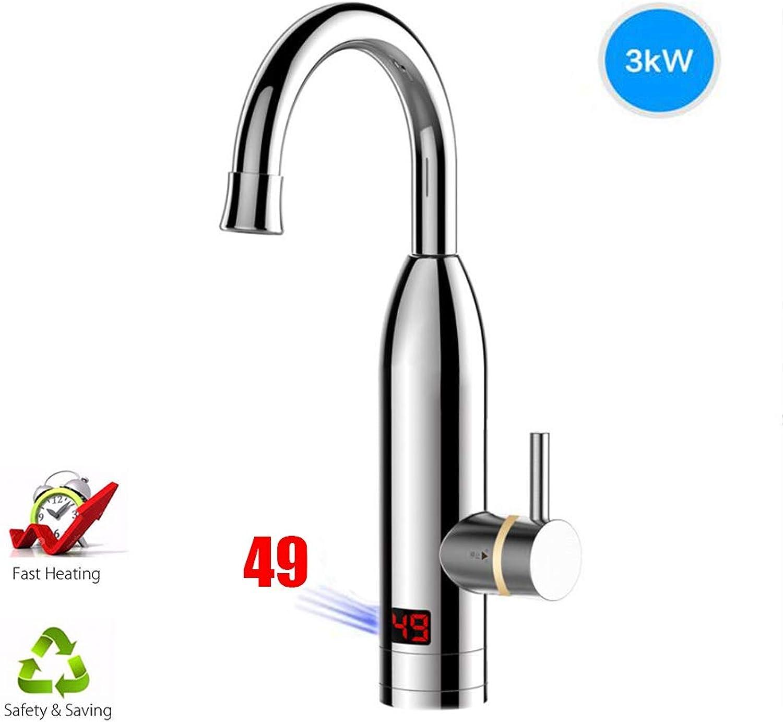 BTSSA Elektrische Wasserhahn,360 ° Drehung LEDTemperaturanzeige Küchenarmatur Schnelle Elektrische Warmwasserbereiter,2