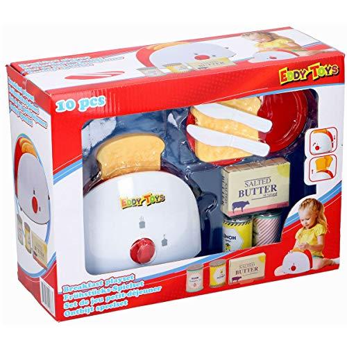Eddy Toys Juego de desayuno (10 piezas, tostadora, mantequilla, tostadora, miel, cocina infantil, electrodoméstico)