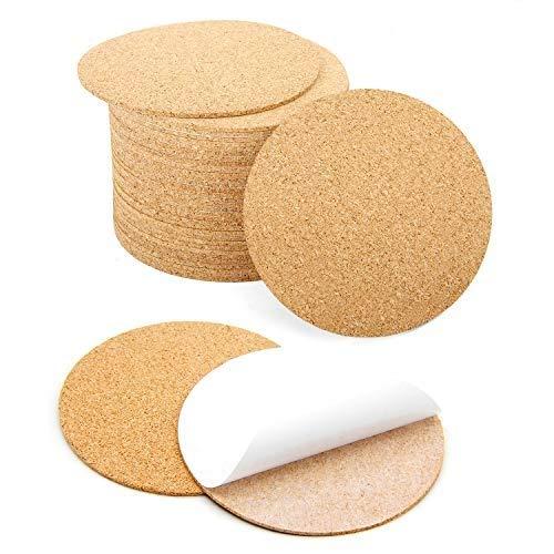 Blisstime 36 Pcs Self-Adhesive Cork Round for DIY Coasters, 4x 4 Cork Circle, Cork Tiles, Cork Mat, Cork Sheets with Strong Adhesive-Backed