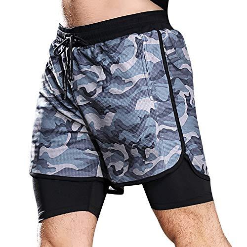Pantalones Cortos Deportivos de Dos Piezas Falsos de Camuflaje para Hombre, Pantalones Cortos de Gimnasio Ajustados de Doble Capa con Costuras para Correr, Baloncesto, Fitness M