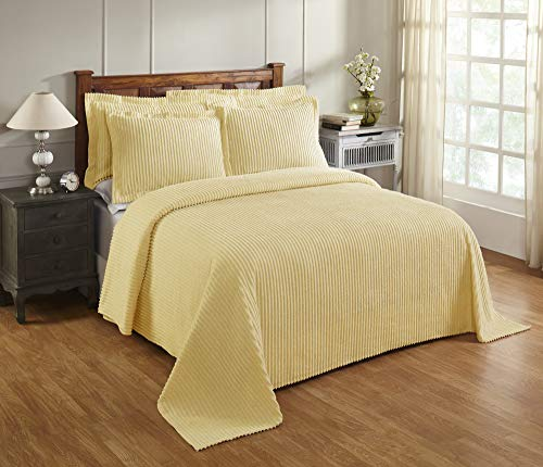 Better Trends Jullian Collection is Super Soft and Light Weight in Bold Stripes Design 100% Cotton Tufted Unique Luxurious Machine Washable Tumble Dry, Queen Bedspread, Yellow
