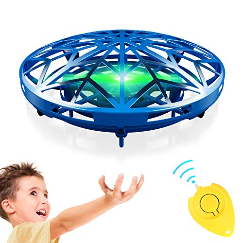 GALOPAR UFO Drone Toys for Kids, Hand Operated Flying Drone for Kids Gifts, USB Rechargeable with 360°Rotating, LED Lights, Hands-Free and Infrared Induction Interactive, Blue