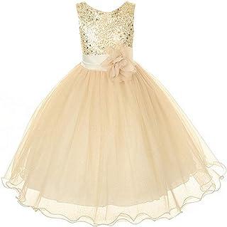 Kid's Dream Baby Girls Gold Sequin Double Mesh Flower Dress,Color:GoldG,Size:XL