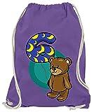 Hariz - Bolsa de deporte, diseño de oso 6 cumpleaños, color morado, tamaño talla única