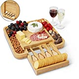 Envybl Bamboo Cheese Board & Cutlery Knife Set Serving Tray - An Elegant Charcuterie Platter - Perfect Appetizer Appliance Essential for Meat & Wine Hosting or Wedding & Birthday Gifts