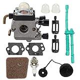 C1Q-S97 FS55R Carburetor + Gas Fuel Cap + Air Filter Fuel Line Kit for STIHL FS38 FS45 FS46 FS55 KM55 HL45 FS45L FS45C FS46C FS55C FS55RC FS85 FS80R FS85R FS85T FS85RX String Trimmer Weed Eater