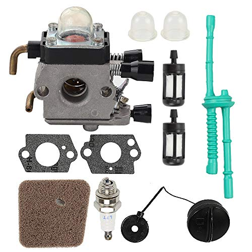 C1Q-S97 FS55R Carburetor + Gas Fuel Cap + Air Filter Fuel Line Kit for STIHL FS38 FS45 FS46 FS55 KM55 HL45 FS45L FS45C FS46C FS55C FS55RC FS85 FS80R FS85R FS85T FS85RX String Trimmer Weed Eater