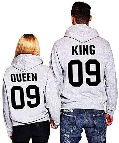 Minetom Moda Hombre y Mujer Pareja Impresión Corona King & Queen Suda